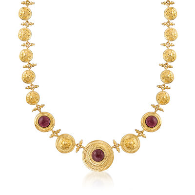 Italian 9.75 ct. t.w. Garnet Disc-Link Necklace in 18kt Yellow Gold Over Sterling Silver, , default