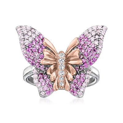 .80 ct. t.w. Simulated Pink Sapphire Butterfly Ring with CZ Accents in Two-Tone Sterling Silver