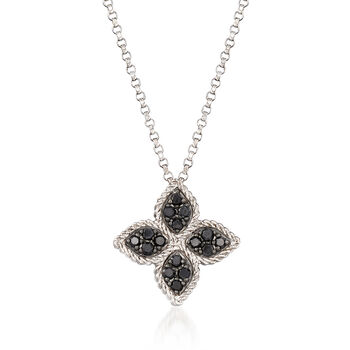 "Roberto Coin ""Princess Flower"" .38 ct. t.w. Black and White Diamond Flower Pendant Necklace in 18kt White Gold. 18"""