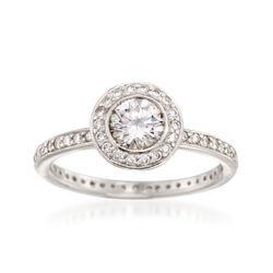 C. 2000 Vintage .75 ct. t.w. Diamond Halo Ring in Platinum, , default