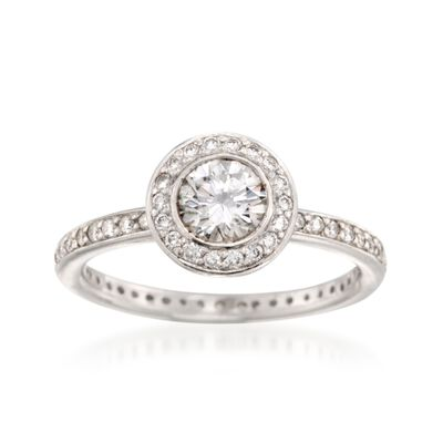 C. 2000 Vintage .75 ct. t.w. Diamond Halo Ring in Platinum, , default