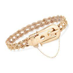 "C. 1990 Vintage 14kt Yellow Gold Rope Buckle Bracelet. 7"", , default"