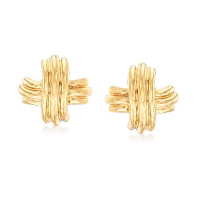 "C. 1990 Vintage Tiffany Jewelry ""Elsa Peretti"" 18kt Yellow Gold X Earrings, , default"