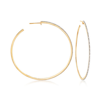 .15 ct. t.w. Diamond C-Hoop Earrings in 18kt Gold Over Sterling