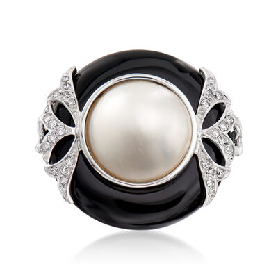 12mm Cultured Mabe Pearl and Black Onyx Ring with .12 ct. t.w. Diamonds in 14kt White Gold