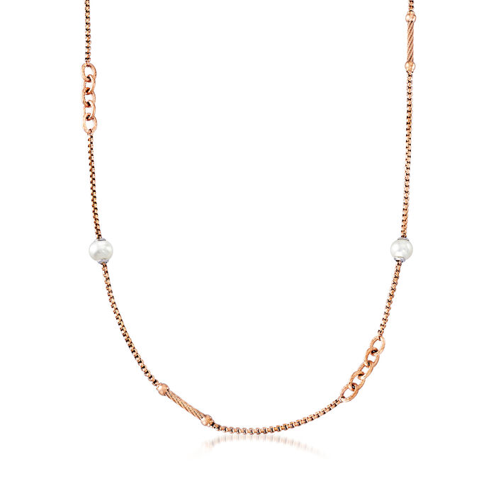 "ALOR ""Chain Reaction"" Cultured Pearl Rose-Hued Stainless Steel Necklace. 36"", , default"