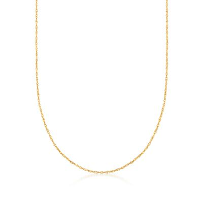 Italian 1.5mm 18kt Gold Over Sterling Adjustable Slider Singapore Chain Necklace, , default