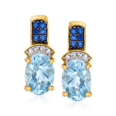 1.50 ct. t.w. Aquamarine Earrings with Sapphire and Diamond Accents in 14kt Yellow Gold