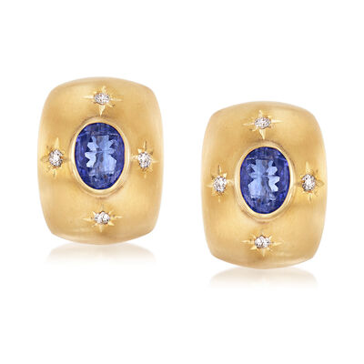 Mazza 4.00 ct. t.w. Tanzanite and .24 ct. t.w. Diamond Earrings in 14kt Yellow Gold, , default