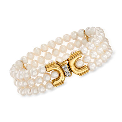 C. 1980 Vintage 6x5.5mm Cultured Pearl Three-Row Bracelet with Diamond Accents in 14kt Yellow Gold