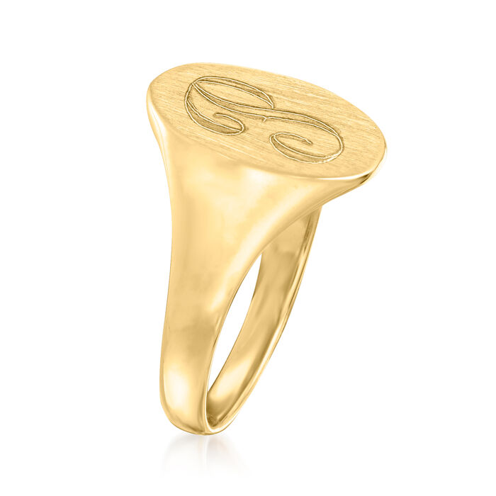 14kt Yellow Gold Single Initial Oval Signet Ring