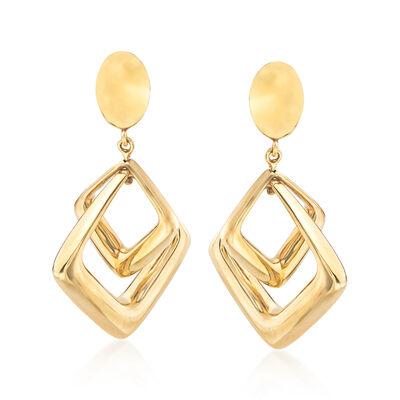 Italian 14kt Yellow Gold Double Square Drop Earrings, , default