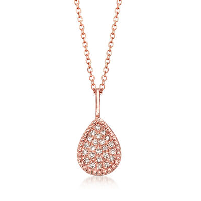 14kt Rose Gold Teardrop Pendant Necklace with Diamond Accents, , default