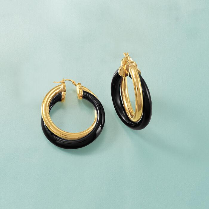 Andiamo 14kt Yellow Gold and Black Onyx Hoop Earrings