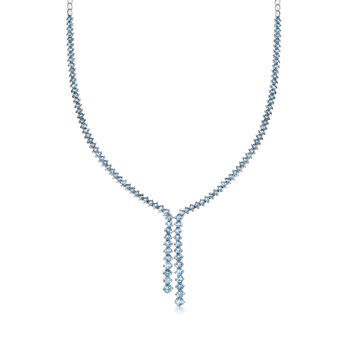 "11.00 ct. t.w. Blue Topaz Y-Necklace in Sterling Silver. 16"", , default"