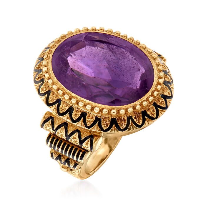 C. 1960 Vintage 10.00 Carat Amethyst Ring with Black Enamel in 10kt Yellow Gold