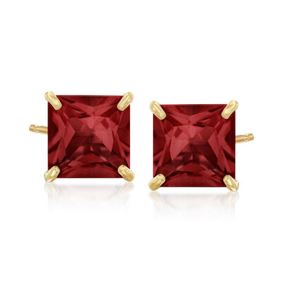 3.80 ct. t.w. Garnet Square Stud Earrings in 14kt Yellow Gold, , default