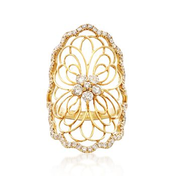 1.10 ct. t.w. Diamond Openwork Floral Ring in 18kt Yellow Gold, , default