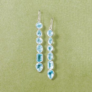 12.90 ct. t.w. Multi-Shaped Blue Topaz Drop Earrings in Sterling Silver , , default