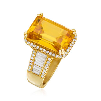 9.00 ct. t.w. Yellow and White CZ Ring in 18kt Gold Over Sterling, , default