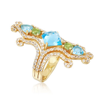 5.90 ct. t.w. Multi-Stone Ring in    18kt Yellow Gold Over Sterling Silver