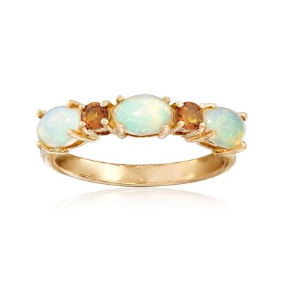 Ethiopian Opal and .10 ct. t.w. Citrine Ring in 14kt Yellow Gold, , default