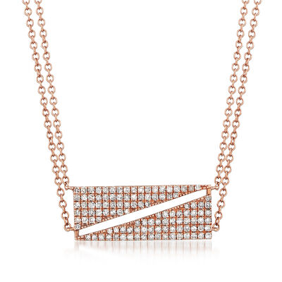.41 ct. t.w. Diamond Bar Necklace in 14kt Rose Gold