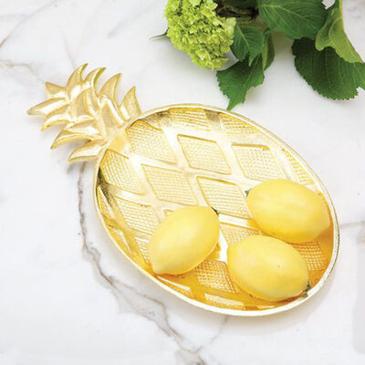 Gold Metal Pineapple Tray, , default