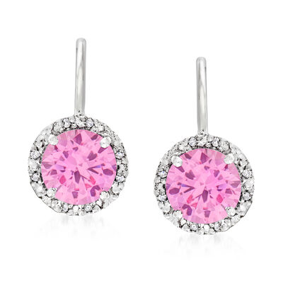 Diamond-Accented 3.20 ct. t.w. Simulated Pink Sapphire Drop Earrings in Sterling Silver