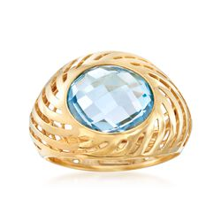 Italian 6.50 Carat Blue Topaz Swirl Dome Ring in 18kt Yellow Gold. Size 6, , default