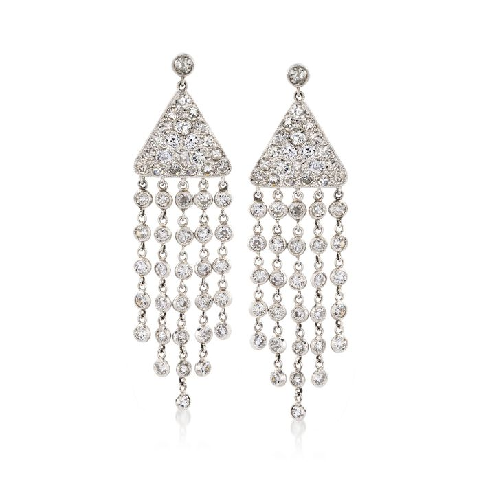 C. 1990 Vintage 4.25 ct. t.w. Diamond Fringe Drop Earrings in Platinum