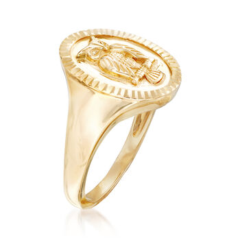 14kt Yellow Gold Owl Signet Ring, , default