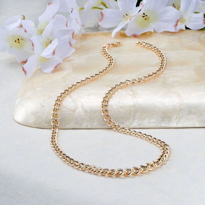 Italian 18kt Yellow Gold Graduated Curb-Link Necklace