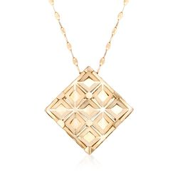 "Italian 18kt Yellow Gold Geometric Square Necklace. 20"", , default"