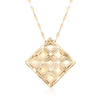 """Italian 18kt Yellow Gold Geometric Square Necklace. 20"""", , default"""