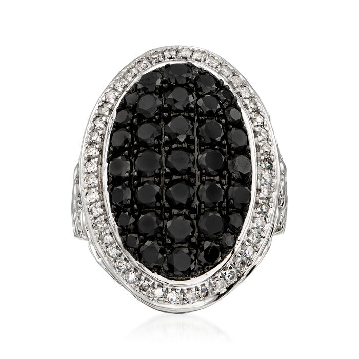 3.00 ct. t.w. Black and White Diamond Ring in Sterling Silver, , default