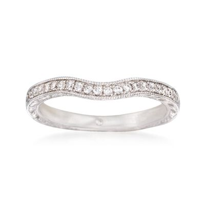 Gabriel Designs .20 ct. t.w. Diamond Curved Wedding Ring in 14kt White Gold, , default