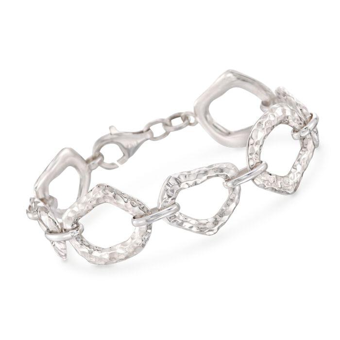 """Zina Sterling Silver """"Touchstone"""" Link Bracelet. 7"""""""
