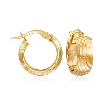 Italian 14kt Yellow Gold Huggie Hoop Earrings, , default
