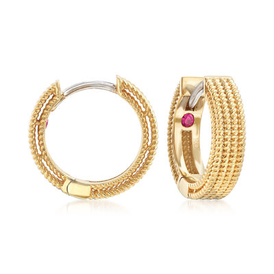 "Roberto Coin ""Symphony"" Barocco Hoop Earrings in 18kt Yellow Gold, , default"