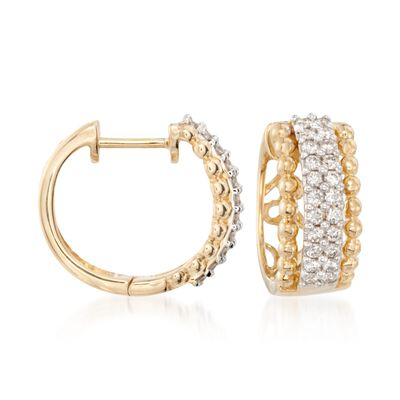.66 ct. t.w. Diamond Huggie Hoop Earrings in 14kt Two-Tone Gold