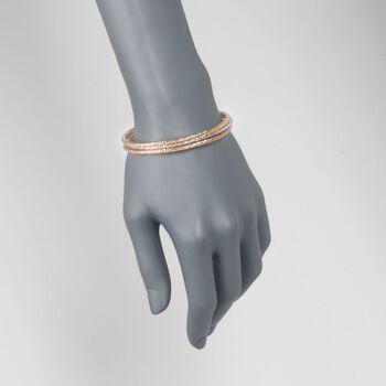 "Italian Tri-Colored Sterling Silver Jewelry Set: Three Diamond-Cut Bangle Bracelets. 7.5"", , default"