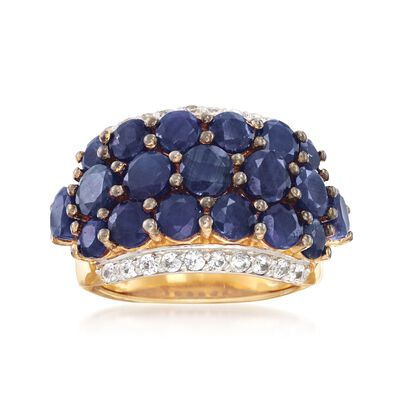5.90 ct. t.w. Sapphire and .70 ct. t.w. White Zircon Ring in 18kt Gold Over Sterling, , default