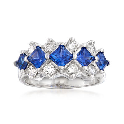 C. 1990 Vintage 2.30 ct. t.w. Sapphire and .80 ct. t.w. Diamond Fashion Ring in 14kt White Gold