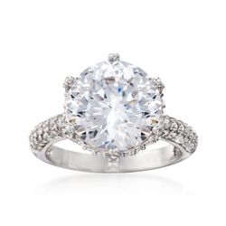 7.05 ct. t.w. CZ Ring in Sterling Silver, , default