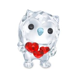 "Swarovski Crystal ""Hoot- I Am in Love"" Red and Clear Crystal Owl Figurine, , default"