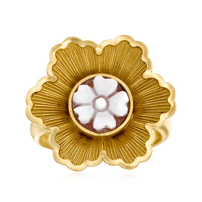 Italian Shell Flower Cameo Ring in 18kt Gold Over Sterling