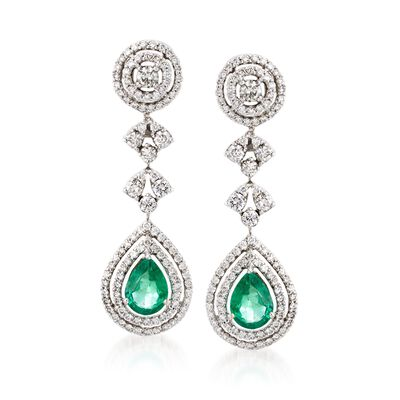 2.50 ct. t.w. Emerald and 2.50 ct. t.w. Diamond Drop Earrings in 18kt White Gold, , default