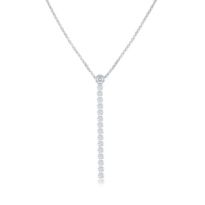 """Italian .50 ct. t.w. CZ Linear Drop Necklace in Sterling Silver. 16"""", , default"""