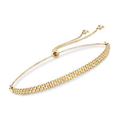 14kt Yellow Gold Bismark-Link Bolo Bracelet, , default